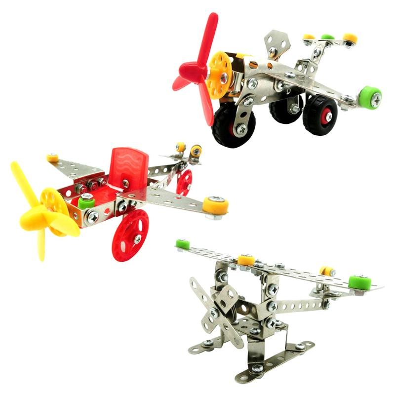Metal Airplane Assembly Toy Aircraft Model Children DIY Creative Intelligence Toy Kids p2744