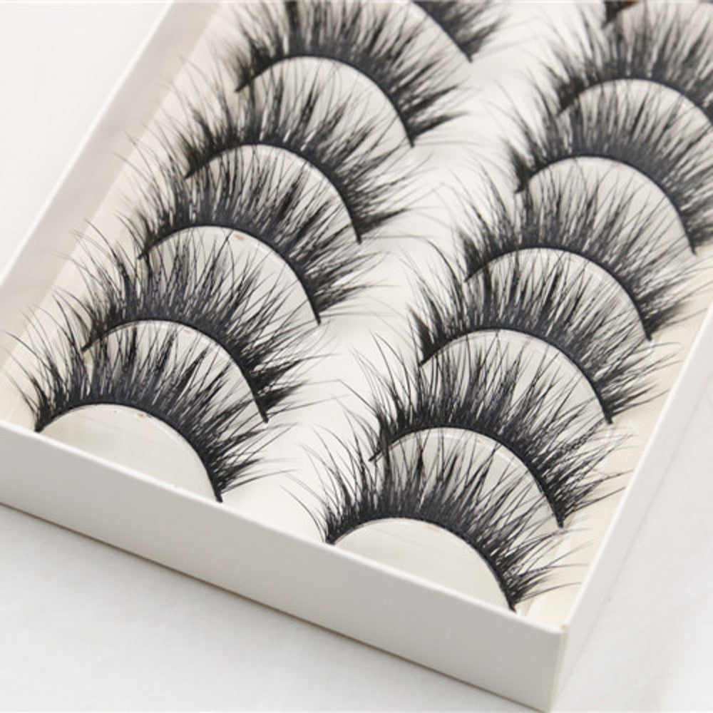 10 Pairs Thick Long Cross Party False Eyelashes Black Band Fake