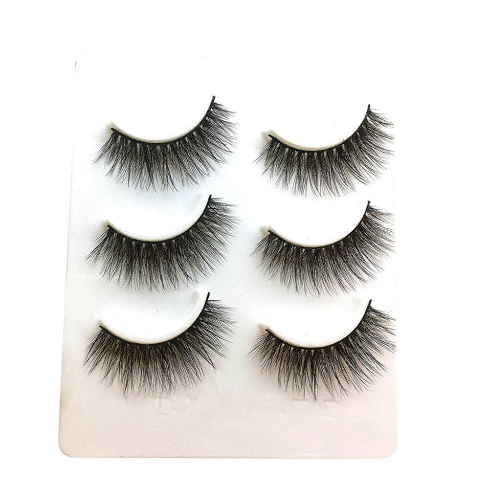 3 Pairs Long False Eyelashes Makeup Natural Fake Thick Black Eye Lashes P3323