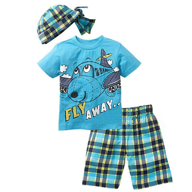 Active boys sets boy  suits summer short sleeve T-shirt + plaid
