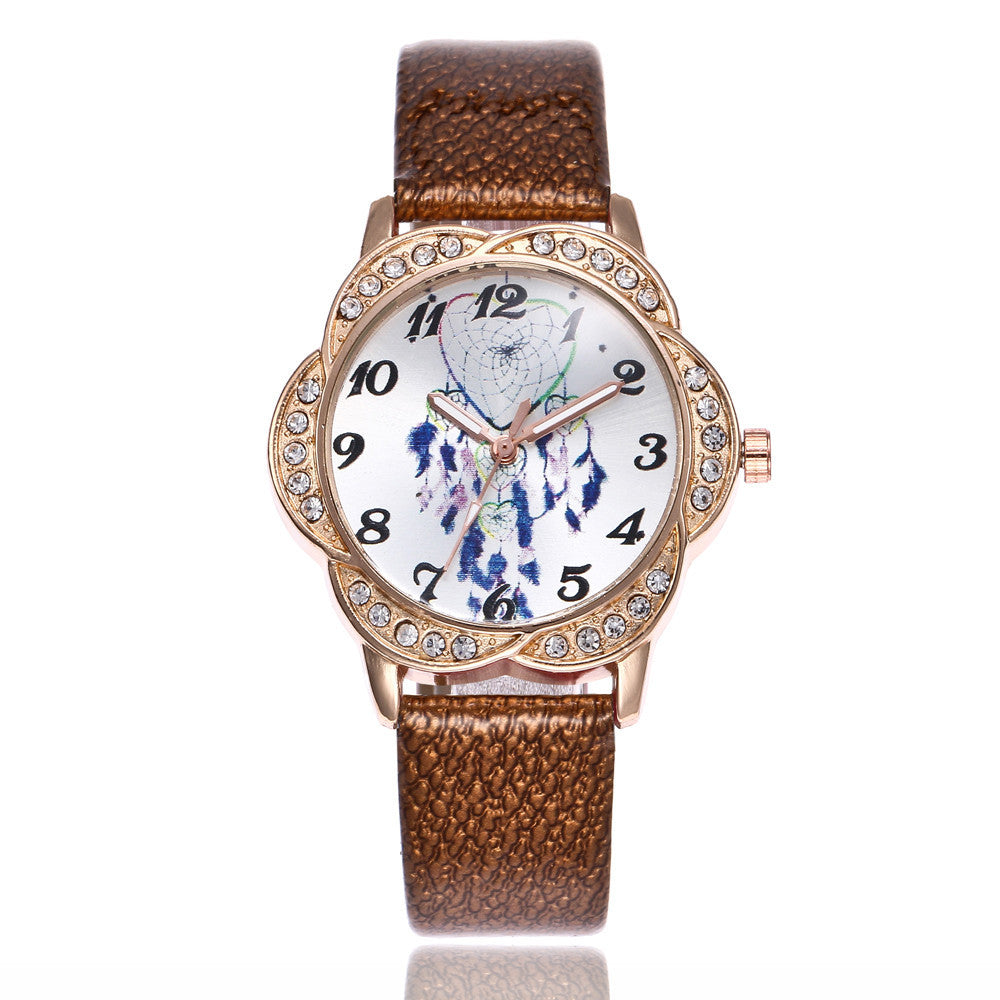 Women Fashion Leather Band Analog Quartz Round Wrist Watch Watches p3177brownBuy mate