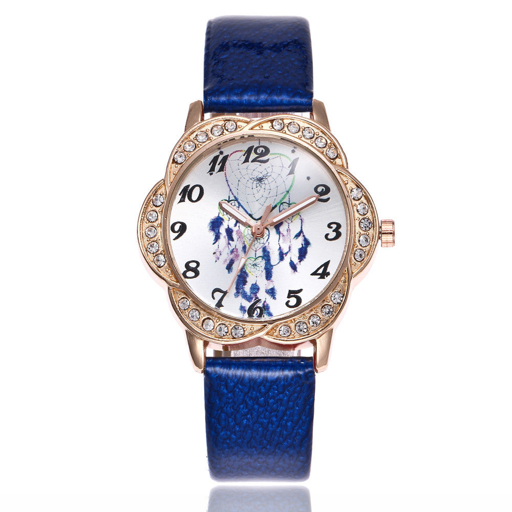 Women Fashion Leather Band Analog Quartz Round Wrist Watch Watches p3177blueBuy mate