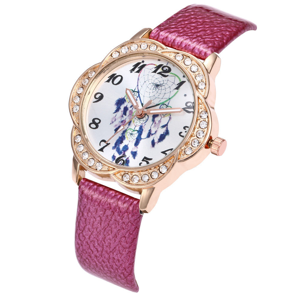 Women Fashion Leather Band Analog Quartz Round Wrist Watch Watches p3177hot pinkBuy mate