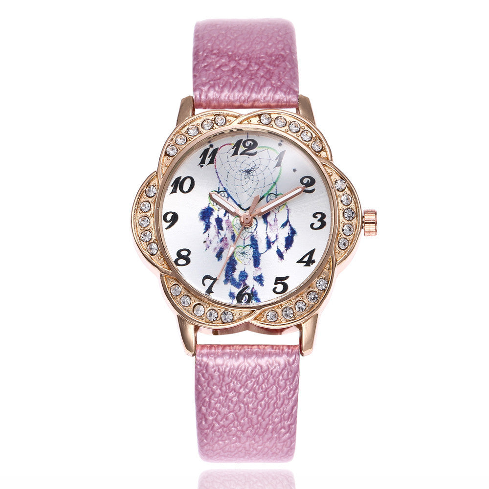 Women Fashion Leather Band Analog Quartz Round Wrist Watch Watches p3177pinkBuy mate