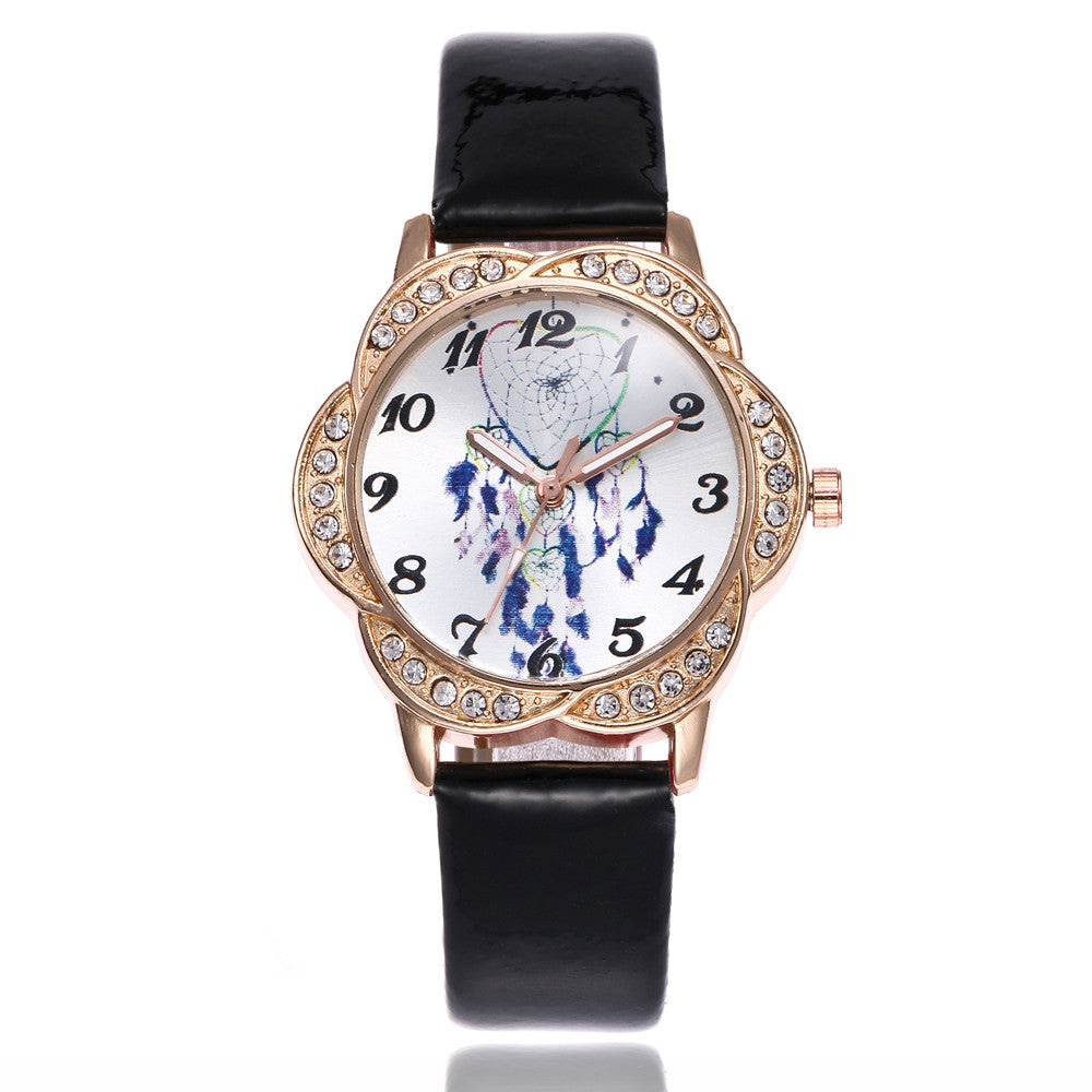 Women Fashion Leather Band Analog Quartz Round Wrist Watch Watches p3177blackBuy mate