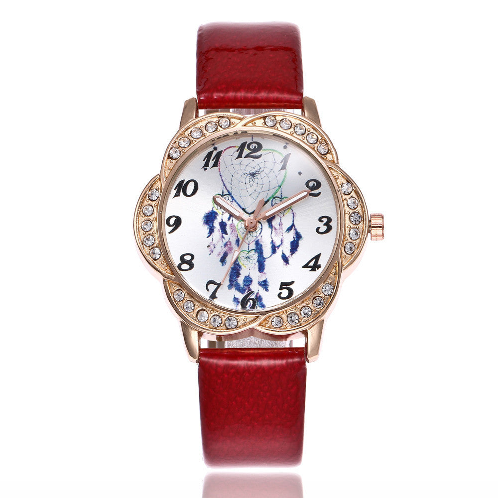 Women Fashion Leather Band Analog Quartz Round Wrist Watch Watches p3177RedBuy mate