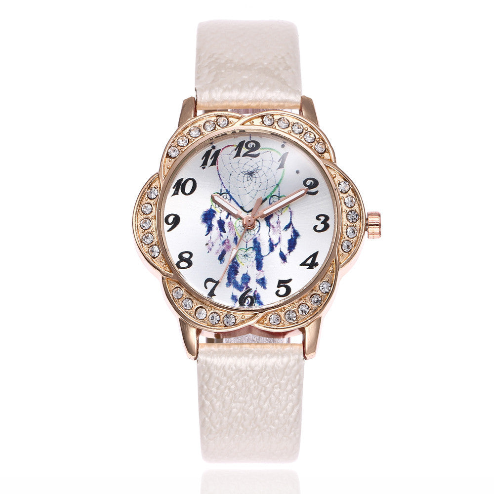 Women Fashion Leather Band Analog Quartz Round Wrist Watch Watches p3177WhiteBuy mate