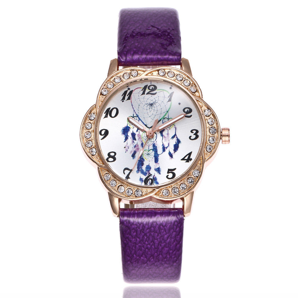 Women Fashion Leather Band Analog Quartz Round Wrist Watch Watches p3177purpleBuy mate