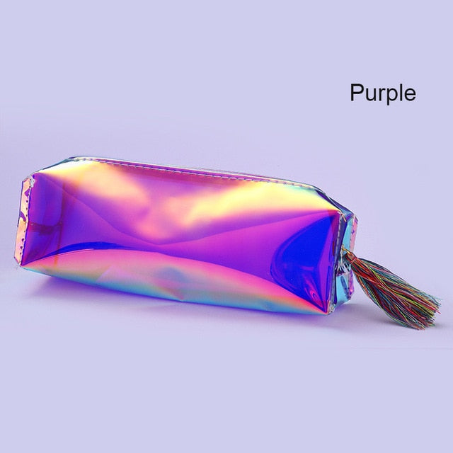 Holographic Makeup Cosmetic Empty Bag Colorful Transparent Organizer Case p2805