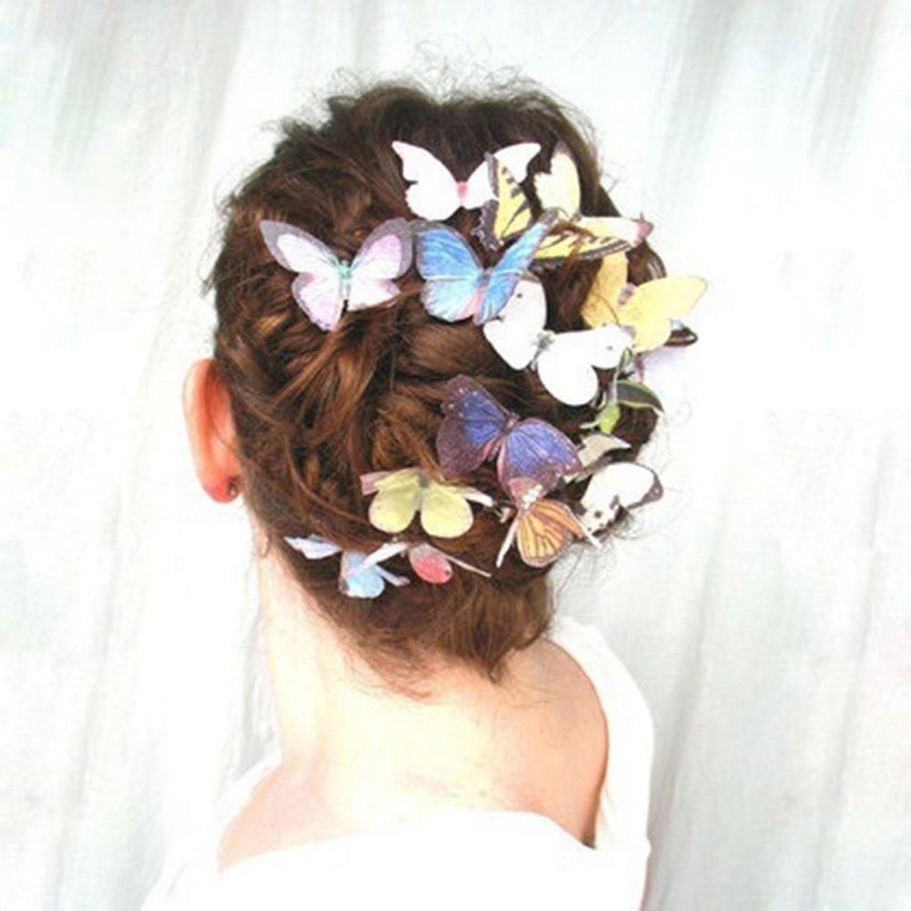 Fashion Women Girls Butterfly Hair Clips Wedding Pins Party Bride Hairpins Photography Barrettes p3690Buy mate