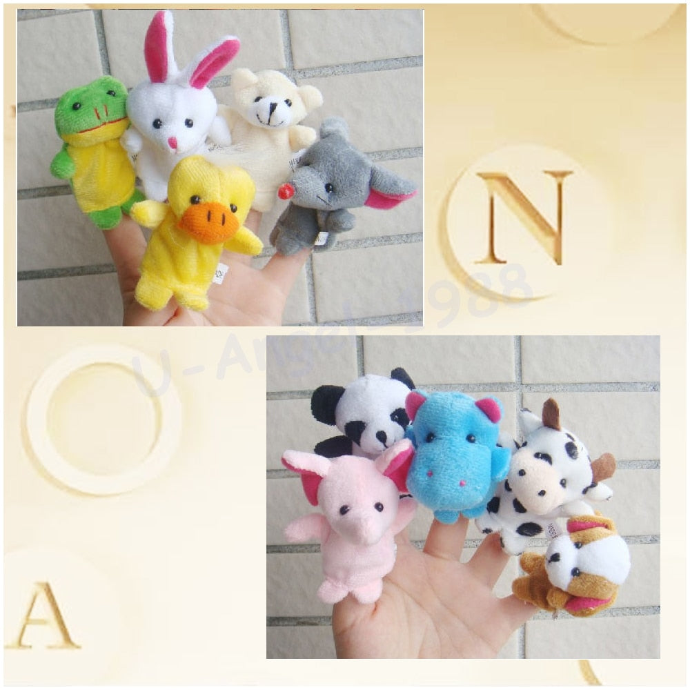 10pcs/bag Baby Plush Lovely Velvet Play Learn Animal Story Toy Cute Cartoon Finger p2631Buy mate