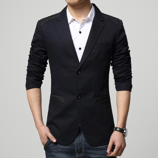 New Spring Autumn Fashion Red Blazer Men Casual Suit Jacket cotton Splice p3535Black / 5XLBuy mate
