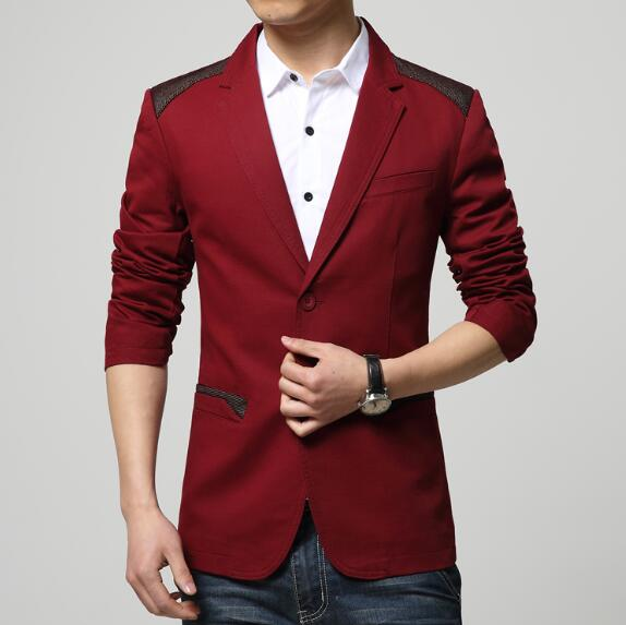 New Spring Autumn Fashion Red Blazer Men Casual Suit Jacket cotton Splice p3535Red / 5XLBuy mate