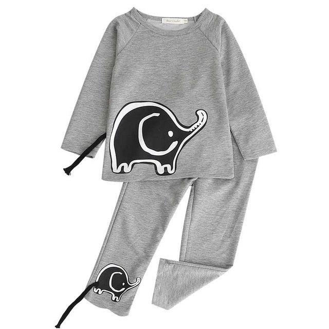 Girls Boys Clothing Sets 2018 New Autunm Sets Children Clothing Elephant Appliques p2587gray / 7TBuy mate