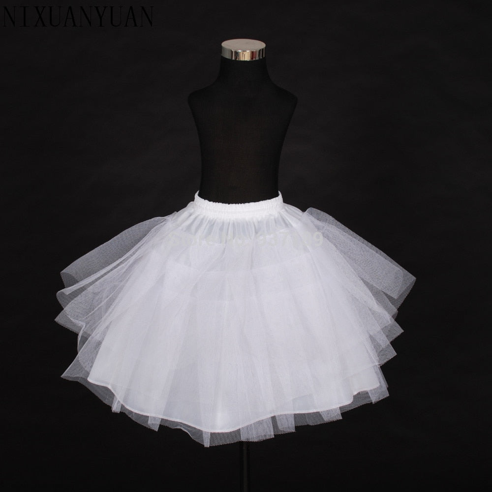 Free Shipping Top Quality Stock Three Layer Net White A-Line Flower Girl  Dress p3562