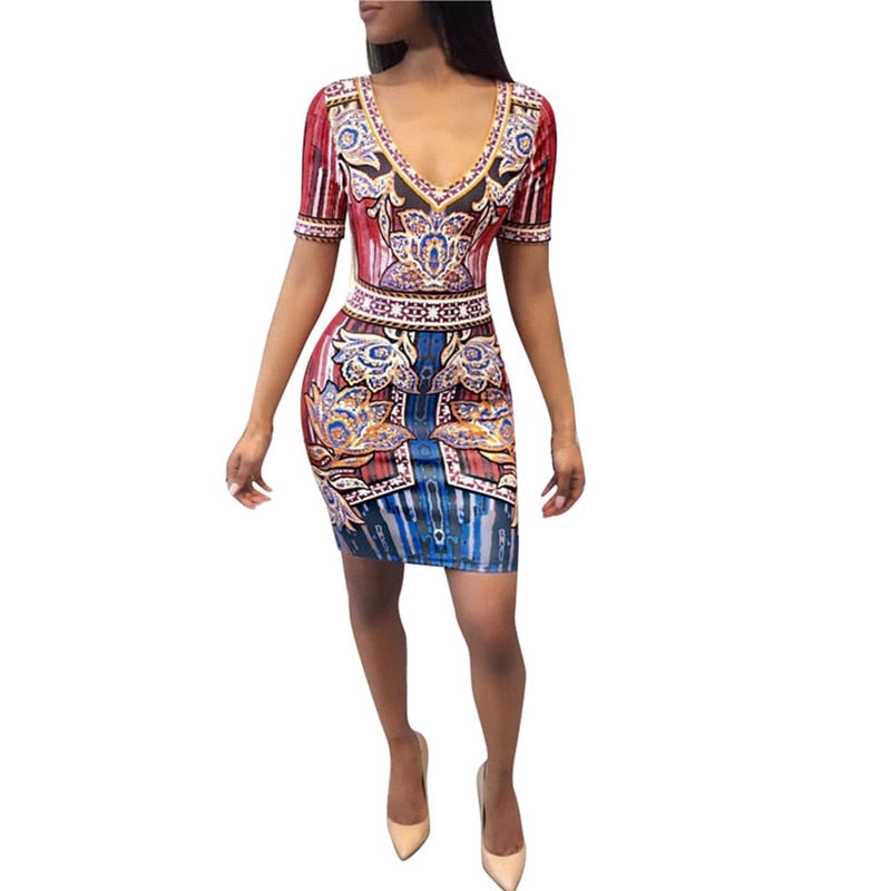 snowshine YLI Women Sexy Africa Print Deep V Dress Short Sleeve Skinny Elastic Mini Dress  free shipping p0519
