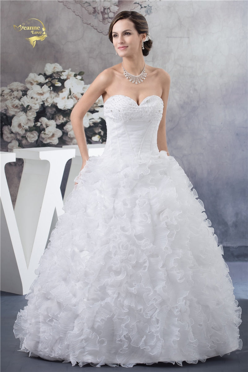 Ball Gown New Wedding Dresses 2018 Off The Shoulder Sweetheart Beading Zipper Bridal Gown Robe p3468