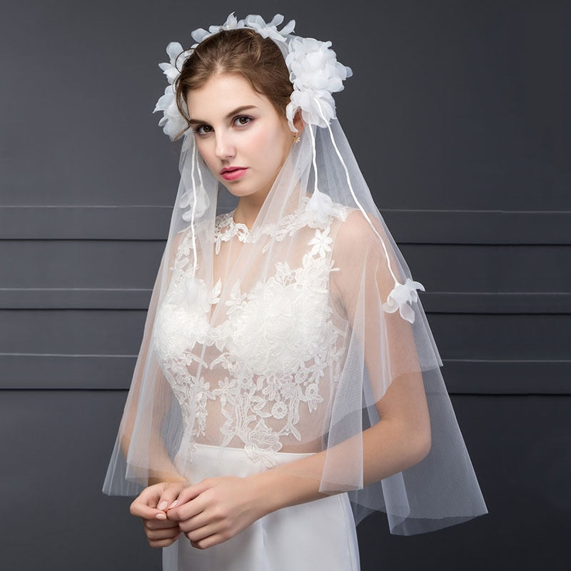ivory mesh wedding veil tulle appliques elbow bridal veil two-layer edge wedding accessories bridal veil p3445Buy mate