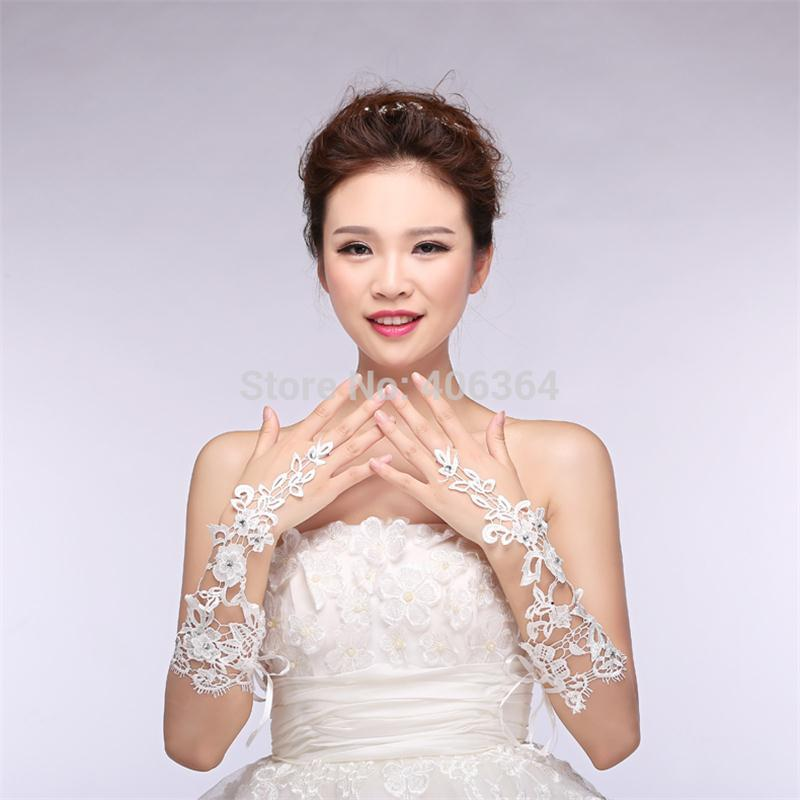 In Stock Elbow Length Wedding Fingerless Gloves Crystals Lace Bridal Gloves women Wedding Accessories P3203Buy mate