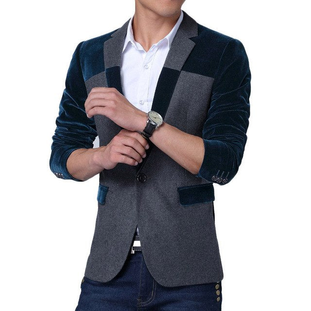 Spring New Men Blazers Korean Fashion Design Patchwork Mens Slim Fit S