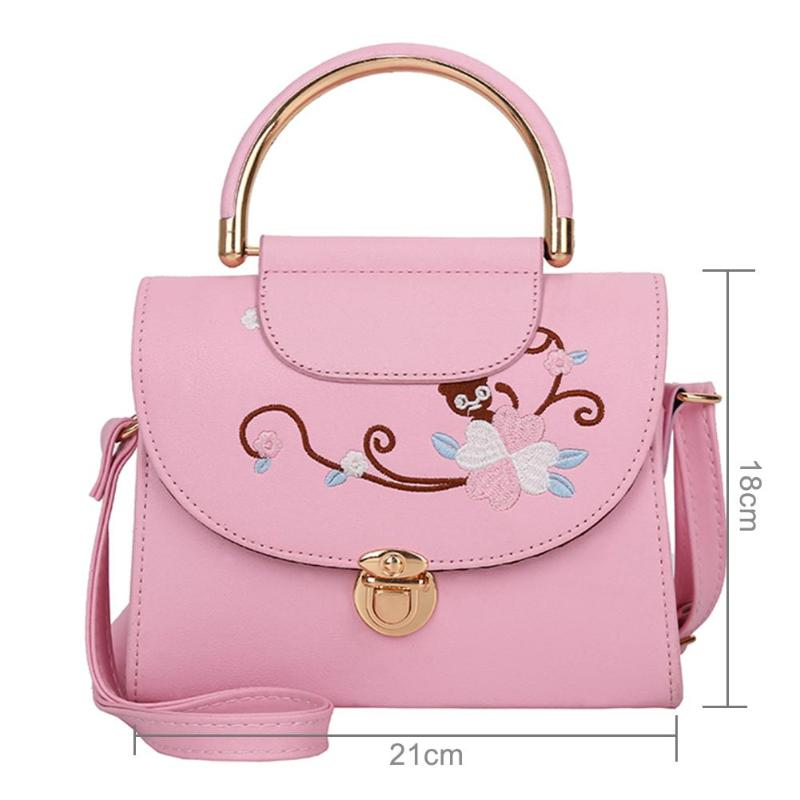 Women Flowers Embroidery Handbags PU Leather Top-Handle Bags Famous Brand p2894Buy mate