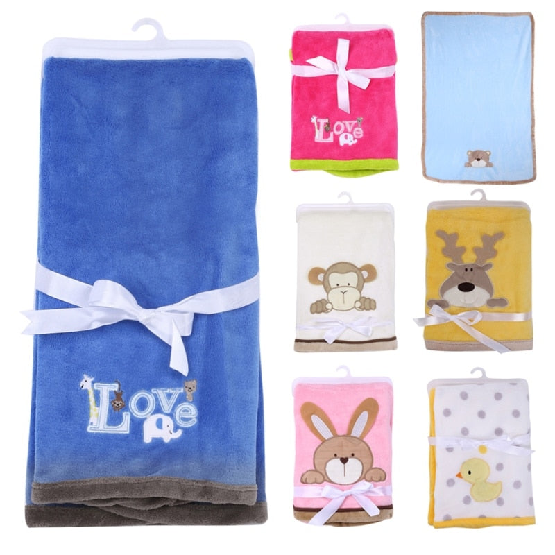 Cartoon Baby Blanket Coral Fleece Swaddle Stroller Wrap for New
