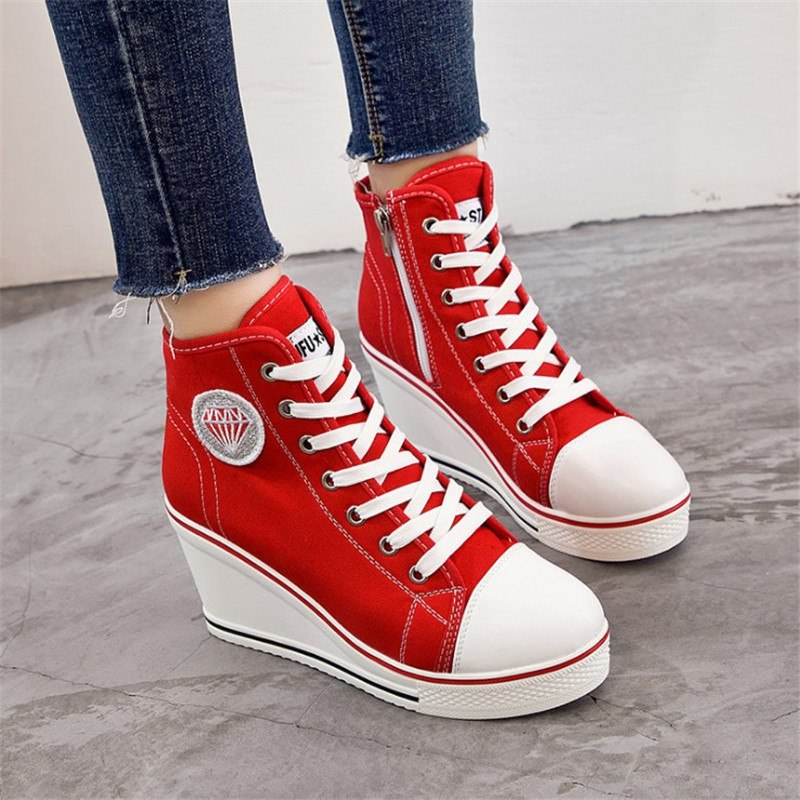Wedge Summer Zipper Casual Women Canvas Shoes Fashion