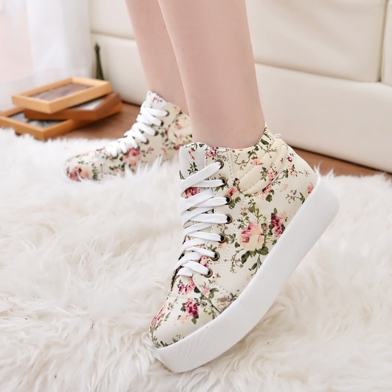Shoes Flower Canvas Sneakers Added Shoes Platform Heigh