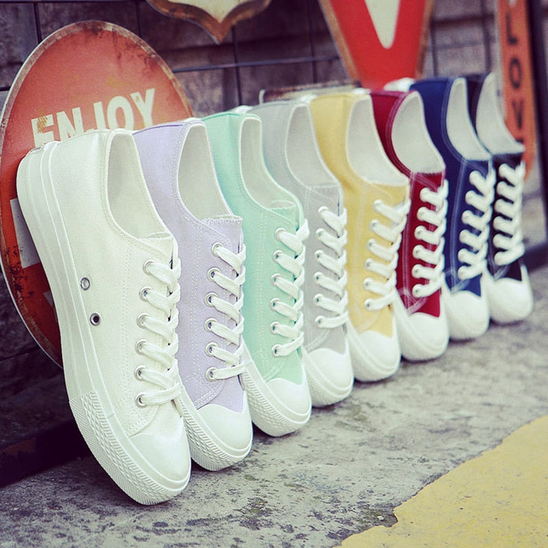 Ladies Canvas Casual Shoes Flat Female Lace Up Sneakers