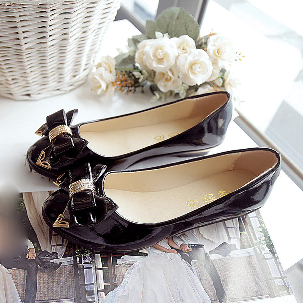 Spring Autumn Toe Flat Heel Bow Tie Shoes Women Fashion Women's