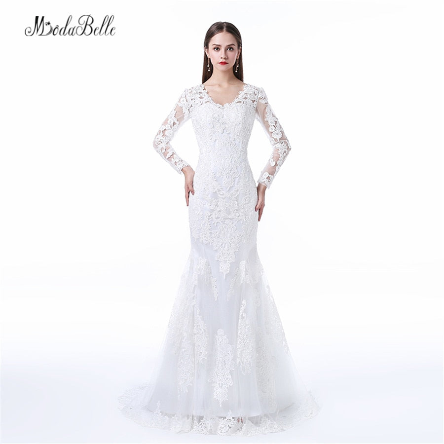 modabelle Factory Direct Robe Mariage Backless Long Sleeve Wedding Dress Lace Mermaid Tail Bruidsjurk Arabic p3613