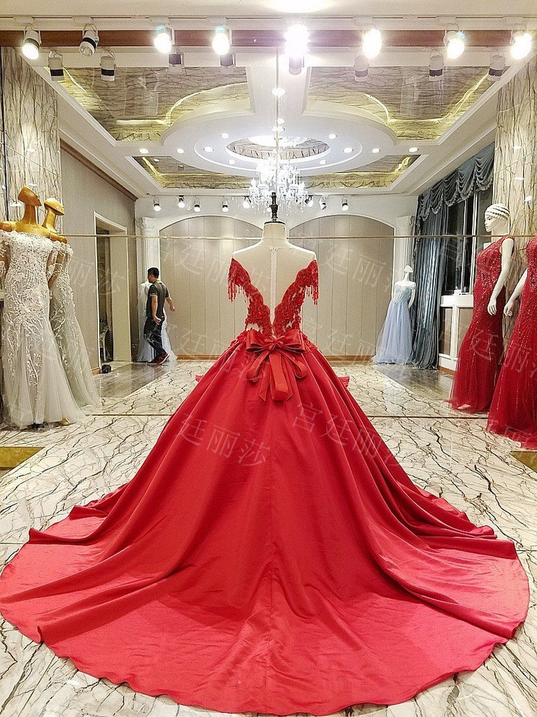 Classic Chinese Red Satin Wedding Banquet Dress Deep-v Applique Beaded Tassel Long Tail p3627Buy mate