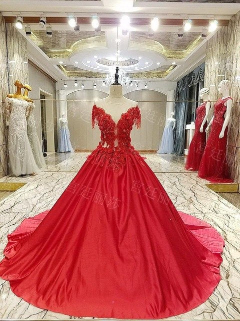 Classic Chinese Red Satin Wedding Banquet Dress Deep-v Applique Beaded Tassel Long Tail p3627Red / 16 / 50cmBuy mate
