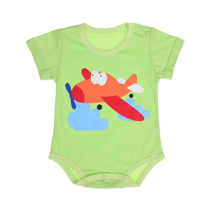 32% Summer Cotton Baby Bodysuit Cartoon Animal Print Short Slee