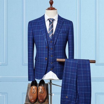 Men Suits Fashion grid stripe Men's Slim Fit business wedding Suit men Wedding suit p3520Navy / XXXLBuy mate