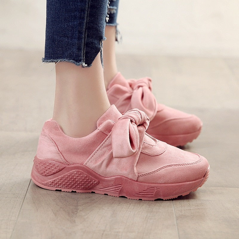Women  Fashion Butterfly-Knot Sneakers Slip-On Tenis Feminino