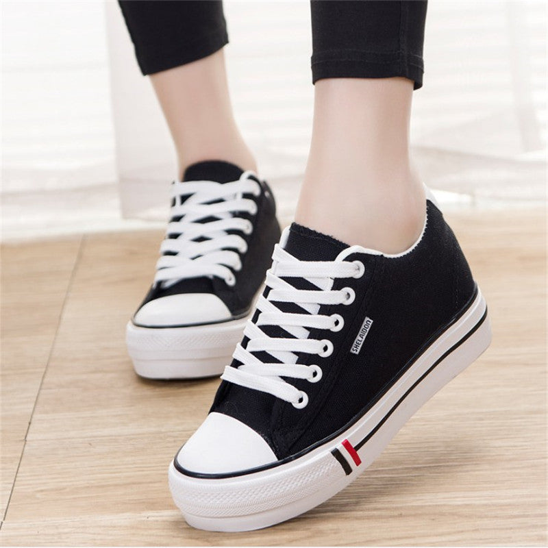 Canvas Shoes  Lace-up Ladies Solid Casual Soft Footwear