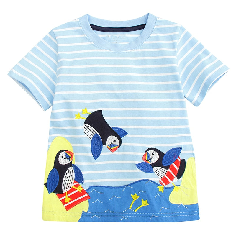 Boys T Shirts Children Clothing 2018 Brand Baby Boys Summer Tops Animal Applique p2603