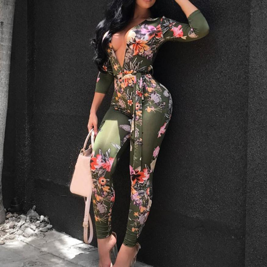 Women Summer Style  Women Sexy Bodycon Long Sleeve Africa Print V-Neck Jumpsuit p0513Buy mate