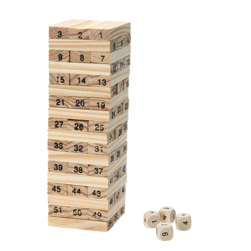 Domino 4pcs Dice Tower Wooden Building Blocks 54pcs Stacker Extract Building p2746Buy mate