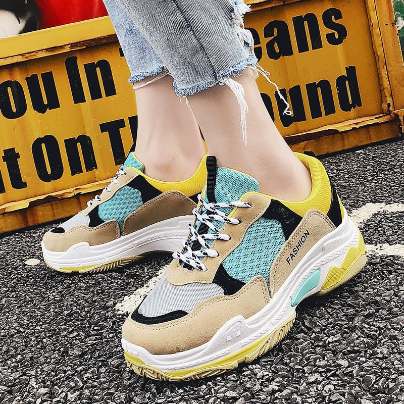 Women Sneakers Vulcanize Shoes Tenis Feminino Mesh  Added Shoes