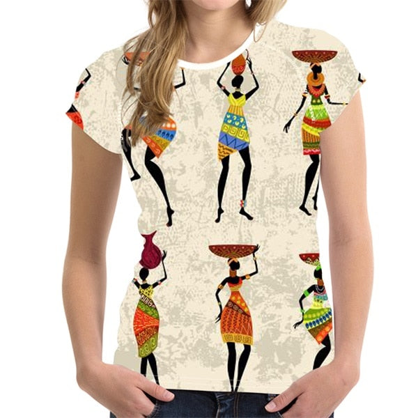 FORUDESIGNS Traditional Africa Painting Women Pattern Girl Summer T Shirts Stylish Fitness Short Sleeve Tee Bodybuilding p0515H10685BV / XXLBuy mate