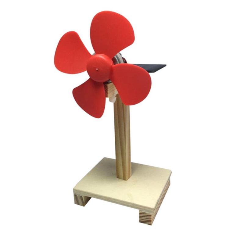 DIY Wood Rotating Solar Fan Kids Handmade Assembled Child Science Experiment p2797