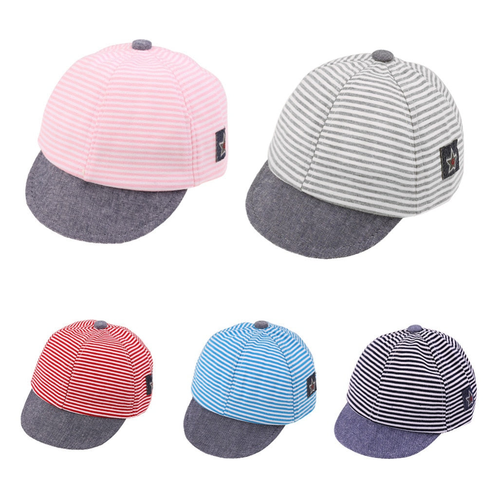 Unisex Kid Hats Girl Boy Cotton Stripe Cartoon Fashion Summer Casual Caps Newborn Baby Sun Baseball p2506