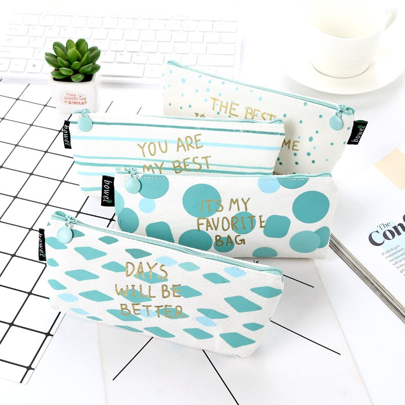 Kawaii Cute Blue Stripe Canvas Pencil Case Pen Bags School Tools For Girls And Kids p2654