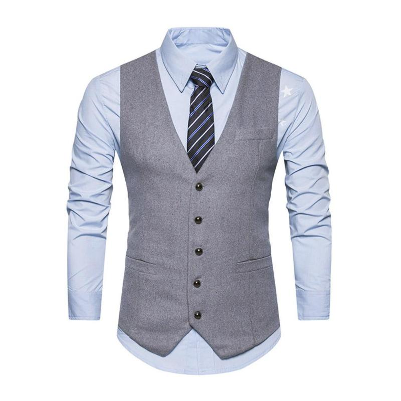 Men Vest Solid Color Casual Slim Fit Gilet Homme British Style Single-Breasted Colete Masculino p3607Buy mate