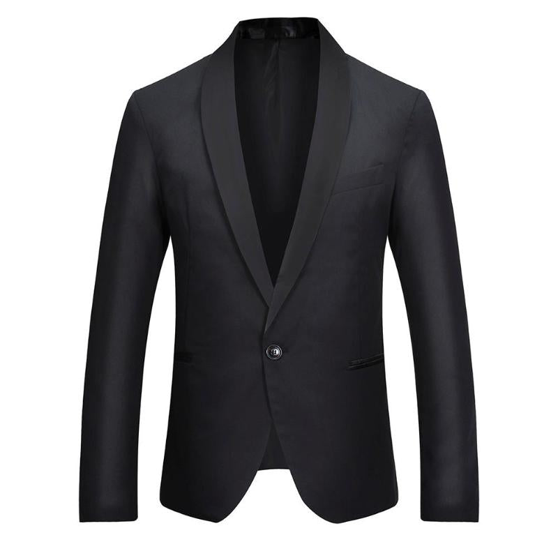 Men Fashion Leisure Splicing Color One-Button Blazer Business Suit Coat p3604Buy mate