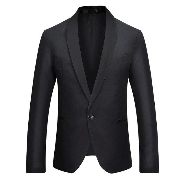 Men Fashion Leisure Splicing Color One-Button Blazer Business Suit Coat p3604Black / XLBuy mate