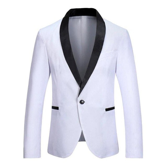 Men Fashion Leisure Splicing Color One-Button Blazer Business Suit Coat p3604White / XLBuy mate
