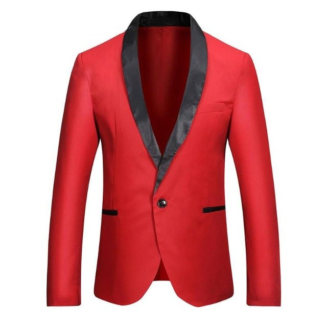 Men Fashion Leisure Splicing Color One-Button Blazer Business Suit Coat p3604Burgundy / XLBuy mate